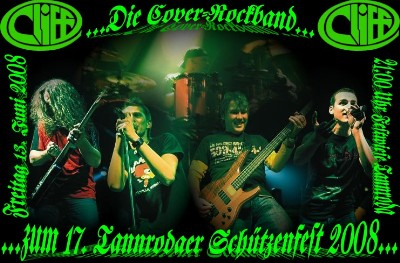 "21.00 Uhr Rockparty mit der mit der Cover-Rockband ""Cliff"""